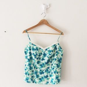 Ann Taylor Blue Floral Fitted Tank Top Blouse